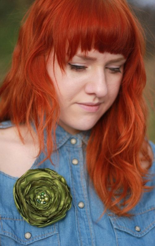Fabric Flower Brooch, Avocado Green Flower Brooch, Handmade Floral Brooch Pin, Free Shipping. $12.90, via Etsy.
