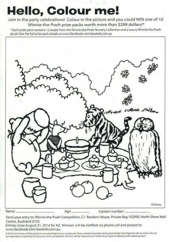 Print out this Winnie the Pooh picture, colour it in send it off by the end of August to Random House, Private Bag 102950, North Shore Mail Centre, Auckland 0725 and be in to win a Winnie-the-Pooh prize pack worth more than $299!