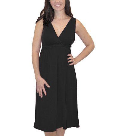 Black Nursing Nightgown - Women & Plus by Amamante Nursingwear #zulily #zulilyfinds