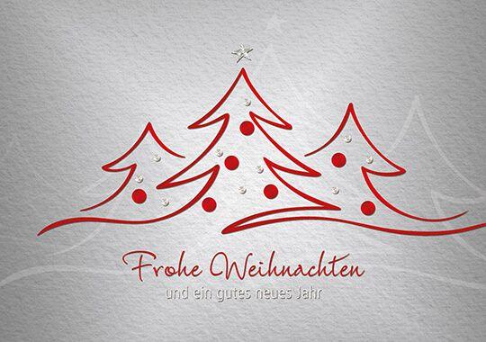 Weihnachts Spendenkarte Fur Dkks Mit Roten Tannenbaumen Und Silberdruck Karten Rote Weihnachtsbaume Weihnachtsgrusse