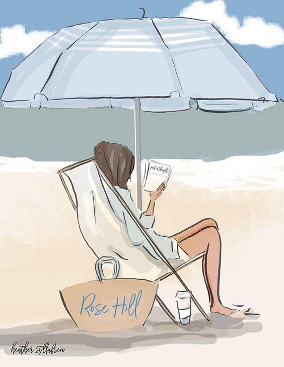 En la playa Nuevo para 2017 Podemos personalizar el bolso con su nombre... (Ver, nuestro dice ROSE HILL) Trataba mano dibujado con pluma y lápiz y color digital Trata una impresión * Impresa en magnífico Epson papel impresión. * Enviará en una manga protectora para evitar la