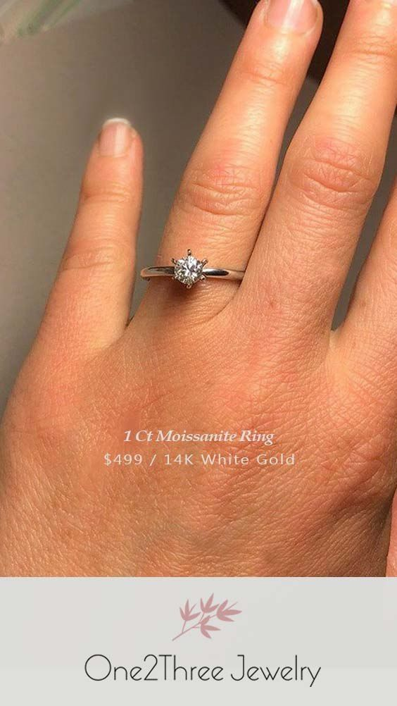 1 Ct Moissanite Solitaire Engagement Ring One2threejewelry In 2020 Moissanite Engagement Ring Solitaire Wedding Accessories Jewelry Engagement Ring Wedding Band