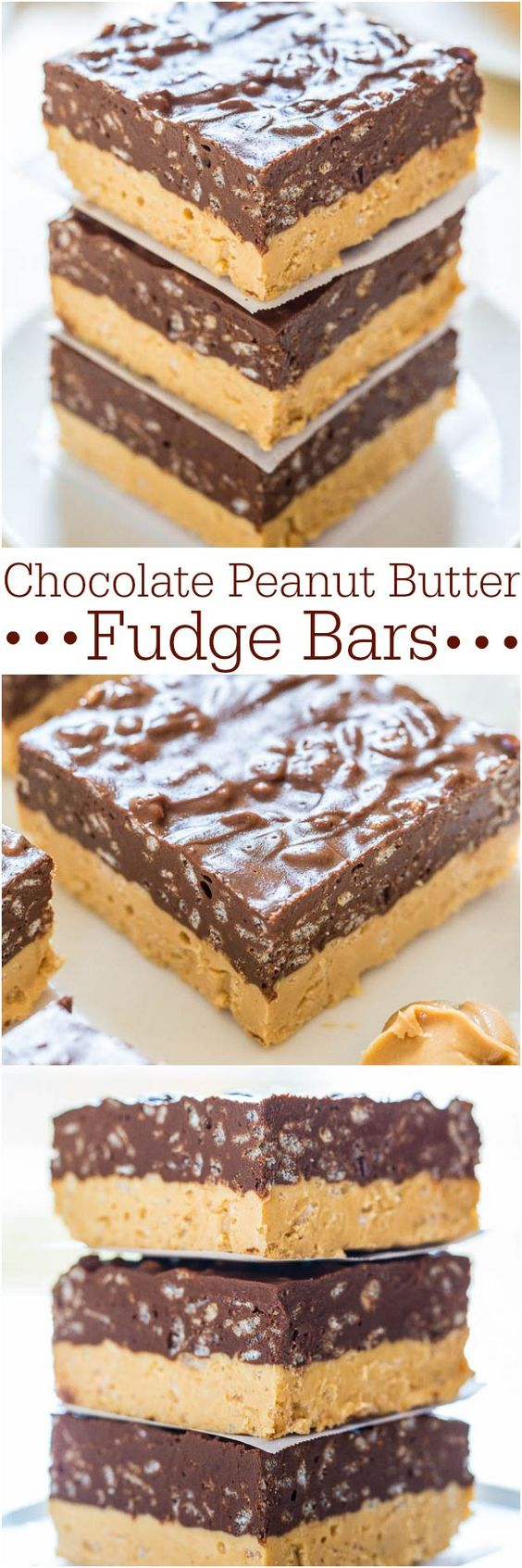 No-Bake Chocolate Peanut Butter Fudge Bars Dessert Recipe via Averie Cooks - Make these easy, no-bake bars! Chocolate + PB is sooo irresistible!! #dessertbars #cookiebars #barsrecipes #dessertforacrowd #partydesserts #christmasdesserts #holidaydesserts #onepandesserts