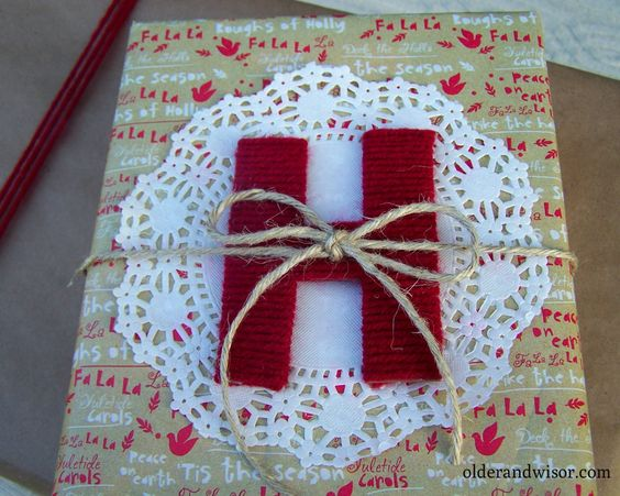 yarn wrapped cardboard letters for gifts | Older and Wisor | I seriously want to be this woman...
