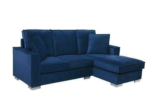 Classic Velvet Sectional Sofa Small Space L Shape Couch With Chaise Light Grey Blue Small Space Sectional Sofa Sofas For Small Spaces Couch With Chaise