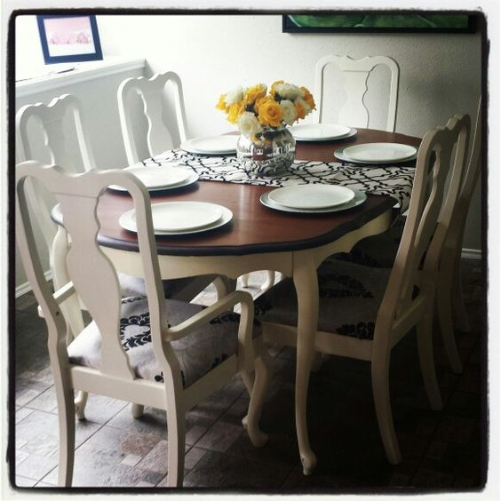 Our refinished table and chairs love craigslist my for Dining room tables craigslist