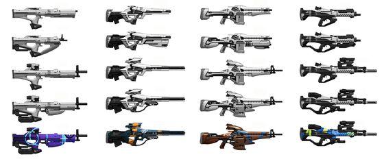 Destiny: Base rifle iterations, Isaac Hannaford on ArtStation at https://www.artstation.com/artwork/destiny-base-rifle-iterations