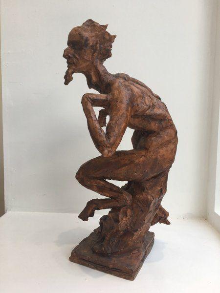 "David J Mitchell 'Leaping Satyr' Ceramic Sculpture (14"" High)"