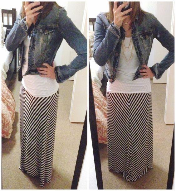 striped maxi skirt with denim jacket closet