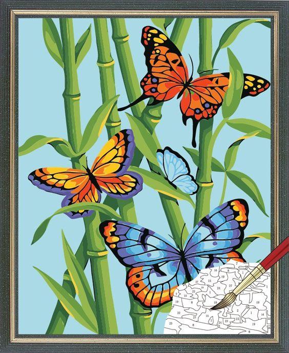 Mariposas marcos and pintura on pinterest for Color bambu pintura