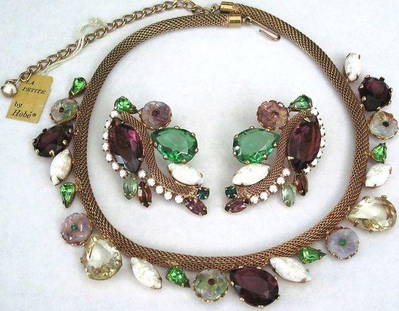 HOBE Amazing Rhinestone Molded Glass Flower Mesh Necklace Earring Set W/ Tag!