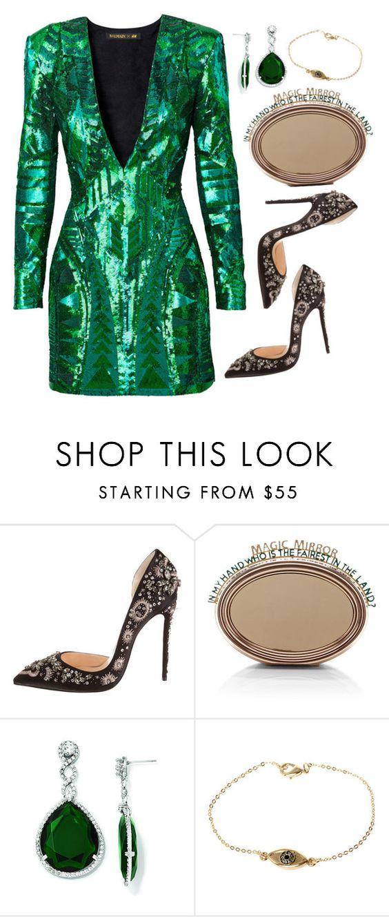 """""""Glam."""" by itschristie97 ❤ liked on Polyvore featuring mode, Balmain, Christian Louboutin, Benedetta Bruzziches, Kevin Jewelers et House of Harlow 1960"""