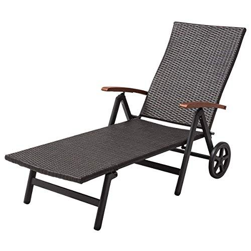 Round Folding Dining Table, Tangkula Wicker Chaise Folding Back Adjustable Aluminum Rattan Lounger Recliner Chair W Wheels Brown In 2020 Pool Patio Furniture Rattan Lounger Rattan Lounge Chair