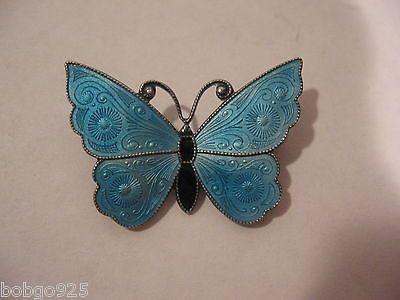 Butterfly Pin Meka Sterling Denmark Blue Enamel Vintage Brooch Vintage Signed