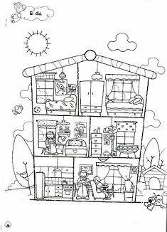 kleurplaat binnenkant huis wonen