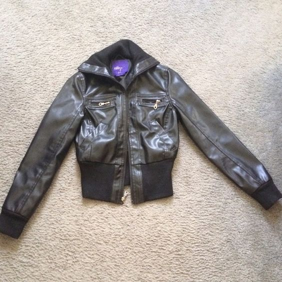 Black Leather Jacket This was a leather jacket from Miley Cyrus' old clothing line. I've only worn this once or twice so I'm giving it away Jackets & Coats