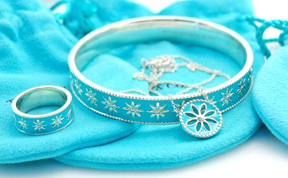 3pc Tiffany & Co. Blue Enamel Daisy Necklace Ring & Bracelet in Sterling Silver