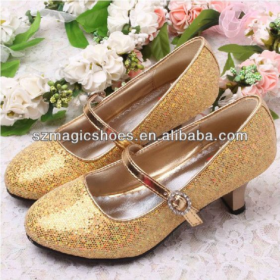 Gold Glitter Fashion Girls High Heels Shoes 2014 | Low Heel Dress ...