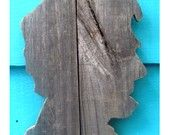 Abraham Lincoln, wall art,  made of recycled fence wood, Abe. $25.00, via Etsy.