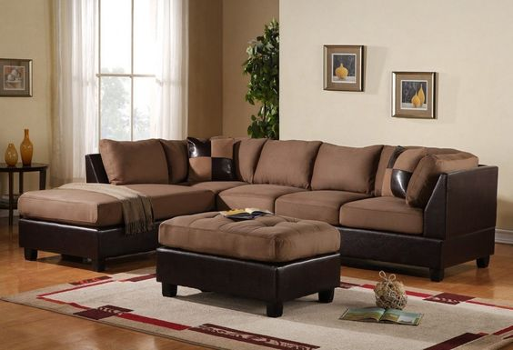 Amazon.com: 3-Piece Modern Reversible Microfiber / Faux Leather Sectional Sofa Set w/ Ottoman (Grey): Kitchen & Dining
