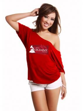 55th GRAMMYs Womens Off The Shoulder T-shirt - Red