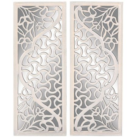 wood wall mirror with a floral cut out design product 2 pieces of