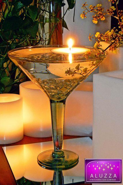 copa de vidrio con velas flotantes para centro de mesa aluzza