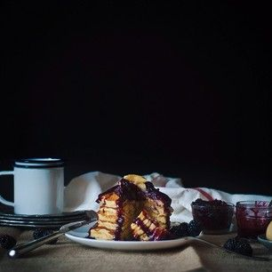 Cornmeal Pancakes with Blackberry Goat Cheese Sauce
