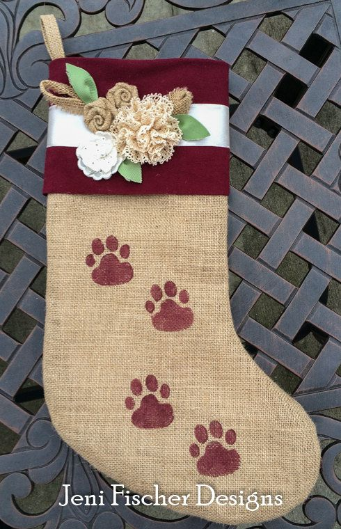 Large Burlap Stocking Paw Print by JeniFischer on Etsy