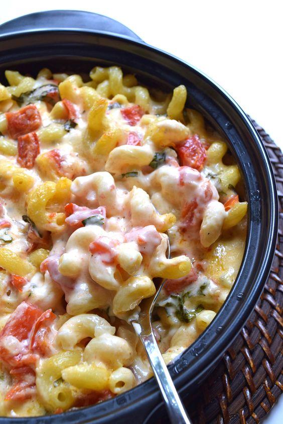 Tomato Basil Mozzarella-Caprese-Mac and Cheese...Roma tomatoes, fresh mozzarella and basil come together in a creamy caprese inspired mac and cheese.