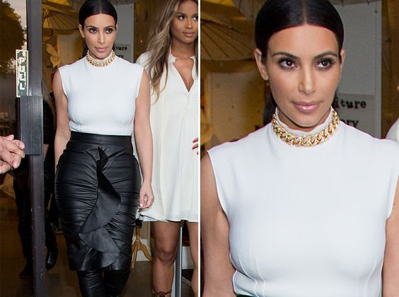 Kim Kardashian Sports Bizarre Leather Look on Lunch Date
