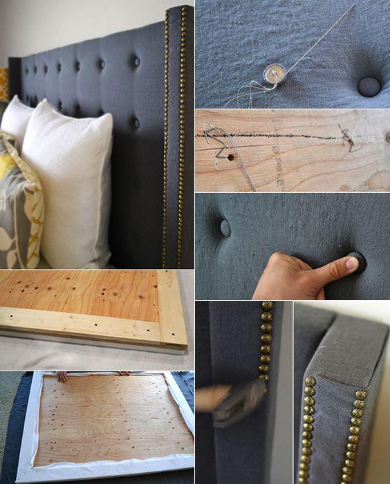 machen sie selber einen modernen bett kopfteil gepolstert schlafzimmer pinterest. Black Bedroom Furniture Sets. Home Design Ideas