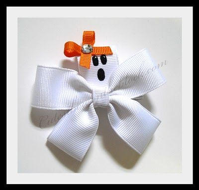 Ghost hair bow for Halloween