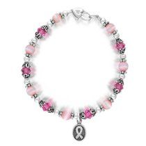 Bling Jewelry Breast Cancer Awareness Bracelet Swarovski Crystals Sterling Silver Ribbon Disk