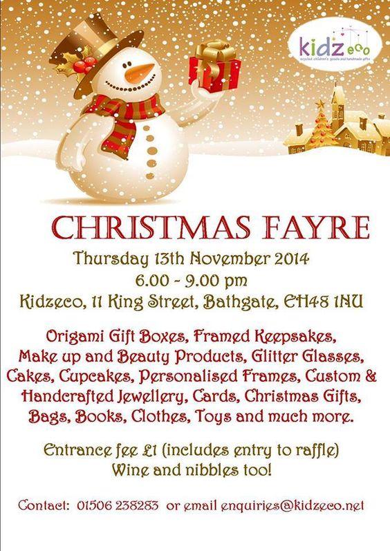 Kidzeco Christmas Fayre Bathgate Thursday 13th November 6:00 to 9:00