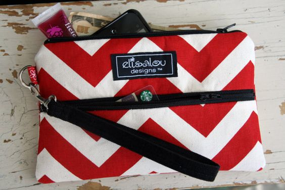 Padded Wristlet Mini Purse Red Chevron by ElisaLou on Etsy, $28.00