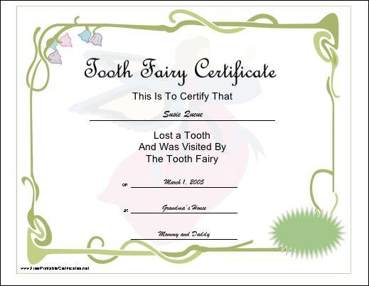 Le certificat de la Fée des Dents