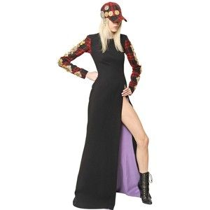 FAUSTO PUGLISI Embroidered Tartan And Wool Crepe Dress