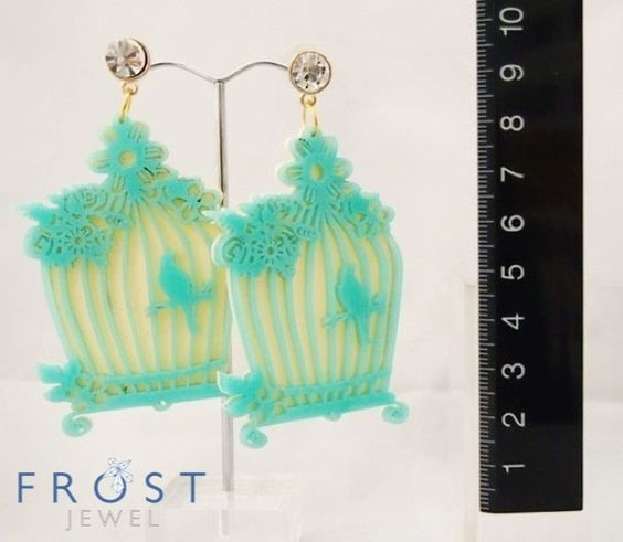Birdcage earrings in turquoise