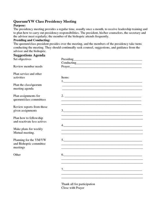 Yw Presidency Meeting Agenda Template - Invitation Templates - meeting agenda word template