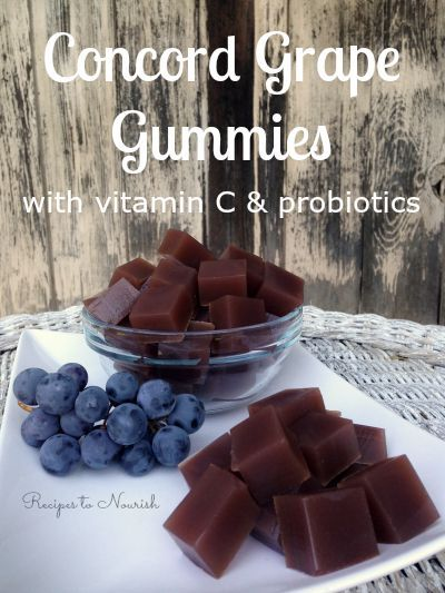 Concord Grape Gummies ... these healthy fruit snacks are made from sweet Concord grapes and grass-fed gelatin ... a great alternative to store-bought fruit snacks. They have vitamin C + probiotics too! Click here for the recipe. | Recipes to Nourish