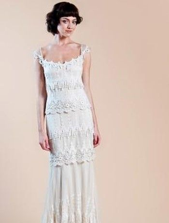 Claire Pettibone - Square Sheath Gown in Lace: Fashion Designer, Clear Pettibone, Wedding Dresses, Wedding Gown, Wedding Ideas, Ivory Silk, Cap Sleeve, Dresses Bridal