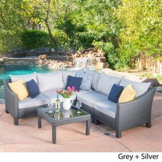 Antibes Outdoor 6 Piece V Shaped Sectional Sofa Set With Cushions
