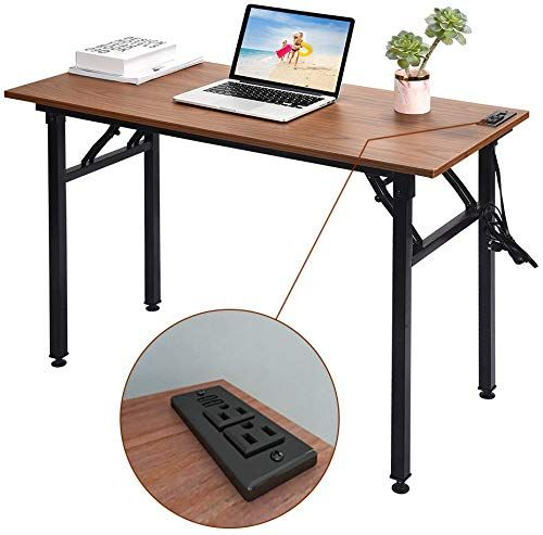 The Frylr Folding Computer Desk Plugs Usb Ports Home Office Desks Foldable 43 3x19 6x29 5 Inch Study Table Student Writing Desk Pc Laptop No Installation In 2020 Desks For Small Spaces Folding Computer
