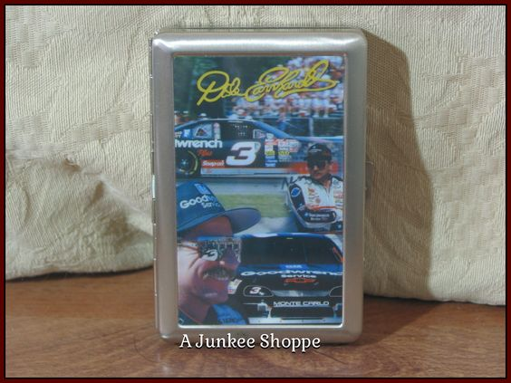 DALE EARNHARDT Sr. Cigarette Or Business Card Case Stainless Steel Nascar Fan Product 0647   http://ajunkeeshoppe.blogspot.com/