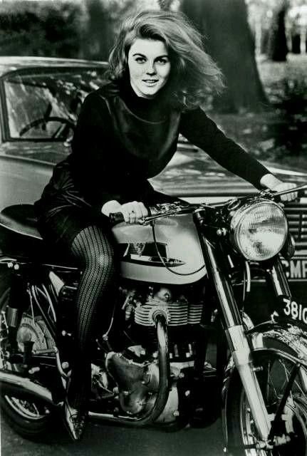 Actress Ann Margret, on her Norton Atlas, one of her many bikes she owned, no wonder Elvis loved her, 1964..