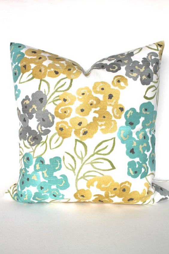 PILLOW Turquoise Teal 12x18 Decorative Throw Pillows Gray Gold Lumbar 16x20 Yellow Throw Pillow ...