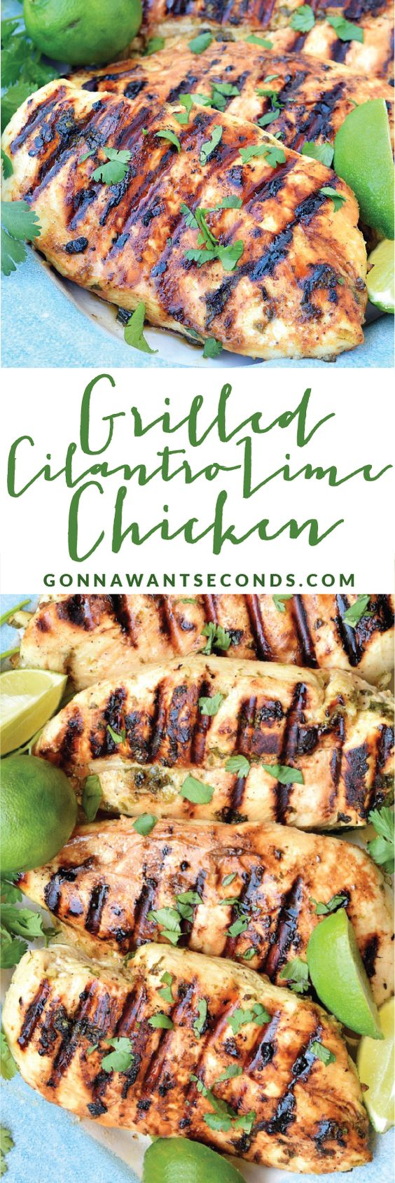 Grilled Cilantro Lime Chicken-This chicken is marinated in a zesty combo of fresh lime juice, garlic and cilantro. The flavors are refreshingly delicious and really permeate the chicken. It's also the perfect chicken to use in tacos or in a salad.