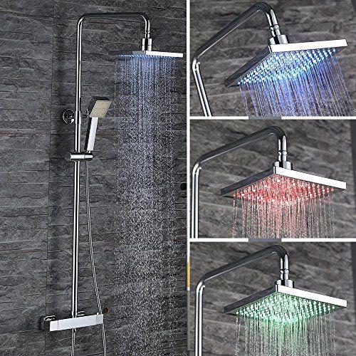 Homelody® 3- Funktion RGB LED Mit Thermostat Messing Dusc...Funktion:Thermostat+LED Farbvarianten+Regen-Handbrause ,treffen Sie Ihre maximale Nachfrage Material: A Messing + Verchromt+304 Edelstahl+ABS Plastik, es ist die Lebensqualität zu schützen Körpfbrause ± 15 ° drehbar, verstellbare Duschstange(850-1320mm) und 150cm lange Schlauchlänge Zwei Jahre Garantie schützen Ihre Verwendung Auch für Durchlauferhitzer geeignet