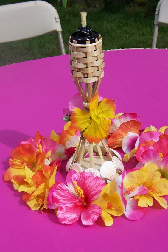 A tabletop tiki torch with wooden wreath michaels i